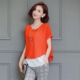 Wholesale Elegant Blue Blouse - Women Chiffon Shirt Loose Half Sleeved Blouse Korean Style Elegant Clothing Plus Size Roupa Feminina Ladies Casual Tops 50P0136