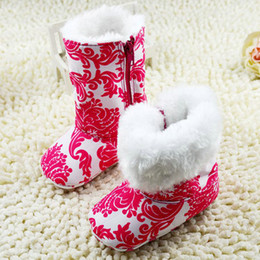 Wholesale Tall Shoes Wholesale - Wholesale- Newborn Baby Girls Tall Snow Boots Soft Crib Shoes Toddler Warm Fleece Boots First Walkers