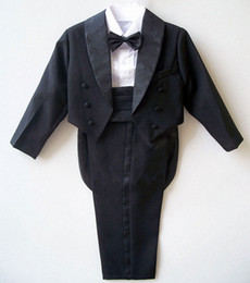 Wholesale Kids Suits For Weddings - Boys suits for weddings Kids Prom Suits Black White Wedding Suits for Boys Tuxedos Children Clothing Set Boy Formal Costume
