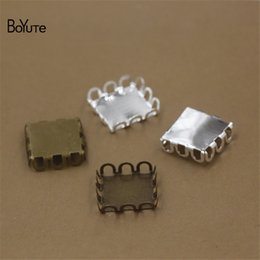 Wholesale Jewelry Square Cabochon Tray - BoYuTe 100Pcs 12MM Hot sale Square Cabochon Base Blank Tray Silver Antique Bronze Diy Jewelry Accessories