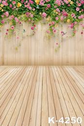 Wandboden fotografie vinyl online-Wand blüht Blumen Holzboden für Baby Fotos Vinyl Hintergrund Kulisse Kamera fotografischen digitalen Studio Requisiten Fotografie Kulissen