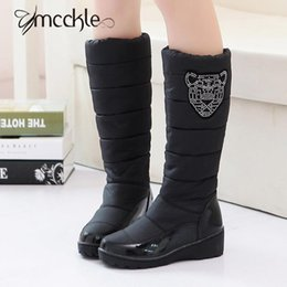 Wholesale Knee Length High Heels Boots - Wholesale- 2016 Winter Warm Knee Length Thick Plush Fur Waterproof Weidge Heel Snow Boots Women's Cotton Boots With Rhinstone Shoes Women