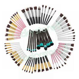 Wholesale Drawing Professional - Professional 10Pcs Makeup Brushes Set Cosmetic Eye Eyebrow Shadow Eyelashes Blush Kit Free Draw String Makeup Tools DHL FREE SHIPPING