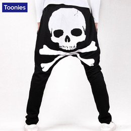 Wholesale Bloomers Patterns - Wholesale-Men's Skull Printed Harem Pants Men's Long Trouser Wide Leg Loose Bloomers Cool Design Jogger Sweatpants