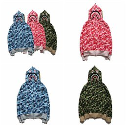 Wholesale Long Sleeve Love - NEW 2017 Men's Full Zipper Shark Print Hip Hop Hoodie Loves Camouflage Army Military Hoodies Sweatshirts Autumn Men's Camos Sportweat Tops