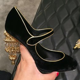 Wholesale Palace Crystals - 2017 New Shoes Woman Sweet Vintage Shallow Mary Janes Pumps Crystal Light Heels Palace Mujer Shoes Party Tide Luxury Designer