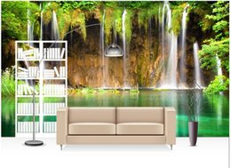landscape photo painting hd Promo Codes - 3d room wallpaper custom photo mural Green hd waterfall lake landscape picture decor painting 3d wall murals wallpaper for walls 3 d