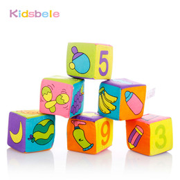 Wholesale Kids Colorful Cloth - Wholesale- Baby Block Toy 6PCS Soft Cotton Rattle Handbell Itty-Bitty 7CM Colorful Cube Kids Toy Crib Bed Learning Baby Toys 0-12 Months
