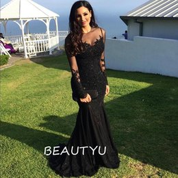 Wholesale Sexy Chic Bandage Dress - Chic Black Long Sleeves Mermaid Evening Dresses With Thick Appliques Beads Illusion Bodice Sheer Neck Women Party Prom Gown 2017