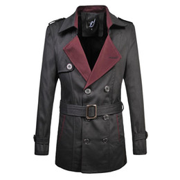 Wholesale Trench Coat Big Man - Wholesale- British Style Spring Fashion Business Men's Classic Double-Breasted Trench Coat with Belt Top Quality Big Size M-6XL