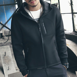 Wholesale Cheap Plus Size Outerwear - Wholesale- Autumn Men Jackets 2016 New Fashion Slim Fit Hooded Mens Jacket Plus Size Casual Cheap Chinese Coat Outerwear 5XL-M Black