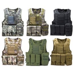 Wholesale Armor Vests - Camouflage Hunting Tactical Vest Wargame Body Molle Armor Hunting Vest CS Outdoor Jungle Equipment with 7 Colors + NB