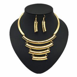 Wholesale Locked Cuffs - XD27 Fashion Jewelry Set Women Wide Alloy Torques Opened Cuff Lock Catch Bracelet Women Statement Necklace Sets
