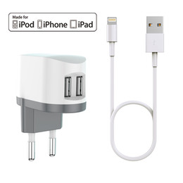 1c62fab2986fff HXINH CoolPowr 3.4A(17W) MFi Certified EU Travel Home Wall Charger Kit for  iPhone 5 6 7 Plus iPad air pro with a 1M Lightning to USB cable
