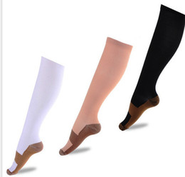 Wholesale Nylon Sock Men - Copper Compression Socks Anti Fatigue Compression Stockings Socks Unisex Pain relief Sports Running Magic Stretch Compression Socks KKA1025