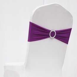 Wholesale Purple Chair Stretch Sash - Elastic Stretch church Chair Sash chair sash with buckle wedding Chair Band With Plastic Round Buckle 9 Colors D