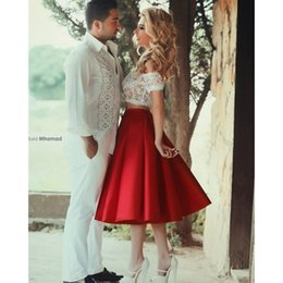 Wholesale Two Pieces Blouses - Prom Dresses 2017 Middle East Style Two Piece Sexy Off Shoulder Lace Blouse Red Fluffy Skirt Tea Length Party Dress