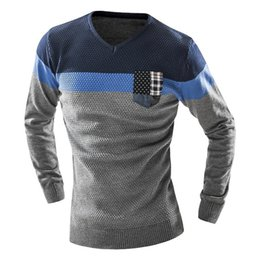Wholesale Wholesale V Neck Sweaters - Wholesale- Male 2017 Men'S Fashion Mixed Colors Sweater Men Leisure Slim Pull Homme V-Neck Long-Sleeved Sweater Solid XXL KF