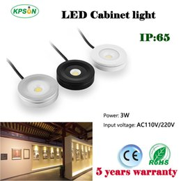 Wholesale Touch Switch Led Cabinet Lights - 8pcs LED Kitchen Under Cabinet Light LED Puck Light 110V 220V dimmable 3W Thin Mini Surface Mounted LED Spotlight Downlight Display lamp