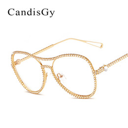 Wholesale Vintage Optic Glass - Wholesale- Vintage Glasses Luxury Frame Brand Designer Women diamond Metal Optics Classic Eyeglasses pearl Frames Clear Transparent Lens