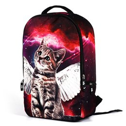 Wholesale Cartoon Boy Girl Hard - 2017 new arrival backpack 3d print galaxy cute little cat kids school bag adult mens weight reduce rucksack good brand bag free shipping