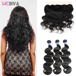 Wholesale Cheap Good Hair - HCDIVA 3 bundles Body Wave with Lace Frontal Closure Brazilian Virgn Hair Body Wave Lace Fontal Good Quality Cheap Price 100g Natural Color