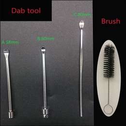 Wholesale Nail Brush Clean - Dab Tool Stainless Steel Metal 56 60 80mm Wax Jar Dabber Titanium Nail And Cleaning Brush For E Cig Atomizer Dry Herb Vaporizer