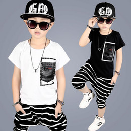 Wholesale Boy High Neck Shirts - 2017 High Qulity Kids Boys Clothing Suit Short Sleeves T-shirt + Stripe Shorts Pants 2pcs Set Children Summer Clothes Cool Baby Boy Outfits