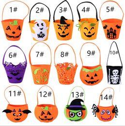 Wholesale Halloween Pumpkin Bucket - Trick Or Treat Fabric Pumpkin Halloween Bucket Multi Chevron Candy Halloween Basket Free Shipping Hot Sale