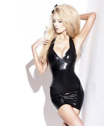Wholesale Sexy Latex Skirt - (LS27)100% pure rubber sleeveless sexy bodycon latex dress club wear fetish costumes for women Latex short skirt