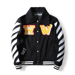 Wholesale Baseball Jacket Women Letter S - 2017 FW off white women men letter embroider jacket hiphop baseball skateball jackets streetwear off white c o Virgil Abloh
