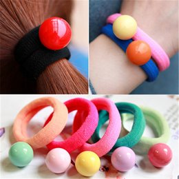 Wholesale Elastic Bead Rings - 10Pcs Lovely Bead Rubber Band Elastic Hair Band Hair Rope Springs Gum For Girls Ponytail Holder Headband Hair Ties Elastic Ring