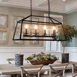 Wholesale Energy Saving E14 Led - Retro Rustic Wrought Iron Black Chandelier Light Rectangle Loft Pendant Lamp Vintage Industrial Glass Box Pendant Light Dining Room Bar Lamp