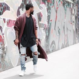 Pedras leves on-line-Kanye west representam a mesma calça jeans homens azul / preto designer de rock star destruído rasgado skinny jeans angustiado para homens