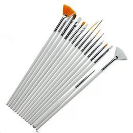 Wholesale Professional Nail Art Dotting Tool - 15pcs set White Nail Art Brushes Kit Professional Nail Equipment Drawing Dotting Tool Decorations Gel Painting Pen Nail Brush ZA1631