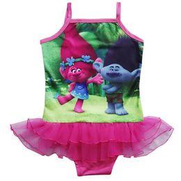 Argentina 2017 Trolls Baby Girls Kids Natación Bikinis tipo de falda traje de baño de una pieza de encaje dulce Traje de baño Traje de bañoP falda cheap skirted swimsuit one piece kids Suministro