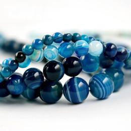 Wholesale Onyx 14mm Beads - Beadia Fashion 4 6 8 10 12 14mm Smooth blue Striated Agate Round Beads Loose Beads Onyx Semi Precious Stone