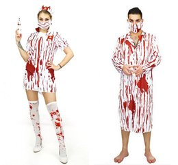 Wholesale Doctor Costume Men - 2017 Adult Bloody Scary Cosplay Costumes Man Woman Halloween Cosplay Horror Nurse Dress and Doctor Clothes Suits LX3666