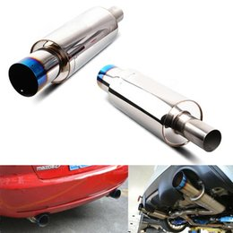 Wholesale Tail Pipes - Large Universal Car Exhaust Muffler Tip Tail Pipe Thick Stainless Steel Exhaust Pipe Vertical Drum Car Styling
