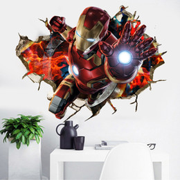 Wholesale Iron Man Decal - Creative 3D Iron man For Kids wall sticker Carved veranda bedroom living room Removable Decorating three-dimensional Sticker Decor Wholesale
