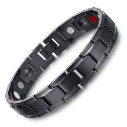 Wholesale titanium health bracelets - 4 in 1 Bio Men European Titanium Steel Energy Magnetic Germanium Therapy Radiation Fatigue Health Bracelet Power Wristband Unisex Gift B804S