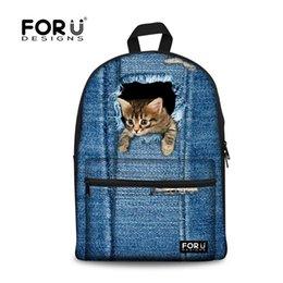 Wholesale Denim Backpacks For Women - Wholesale- FORUDESIGNS Canvas School Backpacks,Animal Denim Cat Printing Backpack for Teenage Girls,School Bags For Teenagers Boys Back Bag