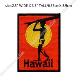 Wholesale Hawaii Costume - Hawaii Beach Sea Vacation Surf Travel Souvenir Patches Embroidered Iron On badge wappen clothing Outdoor halloween costume