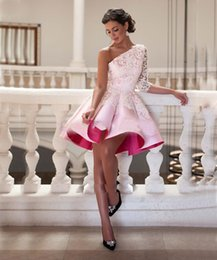 Wholesale Lace Satin Short Robes - Pink Lace Satin One Shoulder Short Prom Cocktail Dresses 2016 3 4 Sleeve A-line pleat Knee Length Homecoming Dresses Robe De Cocktail