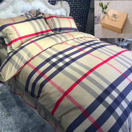 Wholesale Pillow Cover Geometric - Christmas Gift Plaid Bedding Sets Duvet Covers for King Size Bed Europe Style Plaid Bedding Duvet Cover Sheets Pillow Cover CCA7582 1set