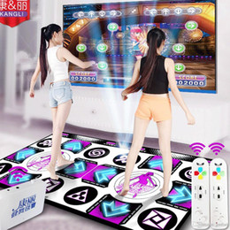 Wholesale Dancing Pad Tv - KL English menu Flash light guide 11 mm thickness double dance pad mat two remote controller sense game for PC & TV 0801003