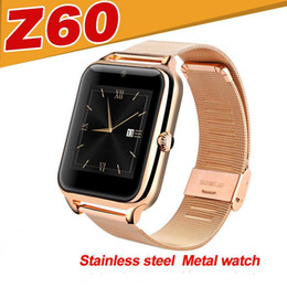 Wholesale Metal Smart Watches - Z60 Smart Watch Phone Stainless Steel Support SIM TF Card Camera Fitness Tracker GT08 DZ09 A1 V8 Best Metal Bluetooth Smartwatch for Android