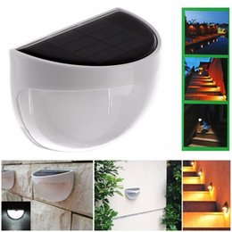 Wholesale Stairs Cover - 6 LEDs Sensor Solar Powered Light Outdoor Lamp LED Wall Light Garden Lamp ABS+PC Cover Color Package Home Stair Waterproof Bulb