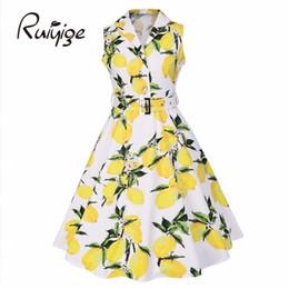 Wholesale Lemon Green Party Dresses - Wholesale- 2017 RUIYIGE womens floral Retro dress lemon print party dress style 1950s rockabilly dress vestido luxury pleated Retro dresses