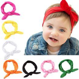 Wholesale Head Brand Baby - Wholesale- Hot Brand Baby Kids Girls Rabbit Bow Ear Hairband Headband Turban Knot Head Wraps